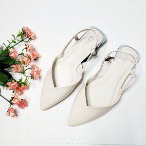 NWT Zara Ivory Ballerina Pointy Flat Slingback
